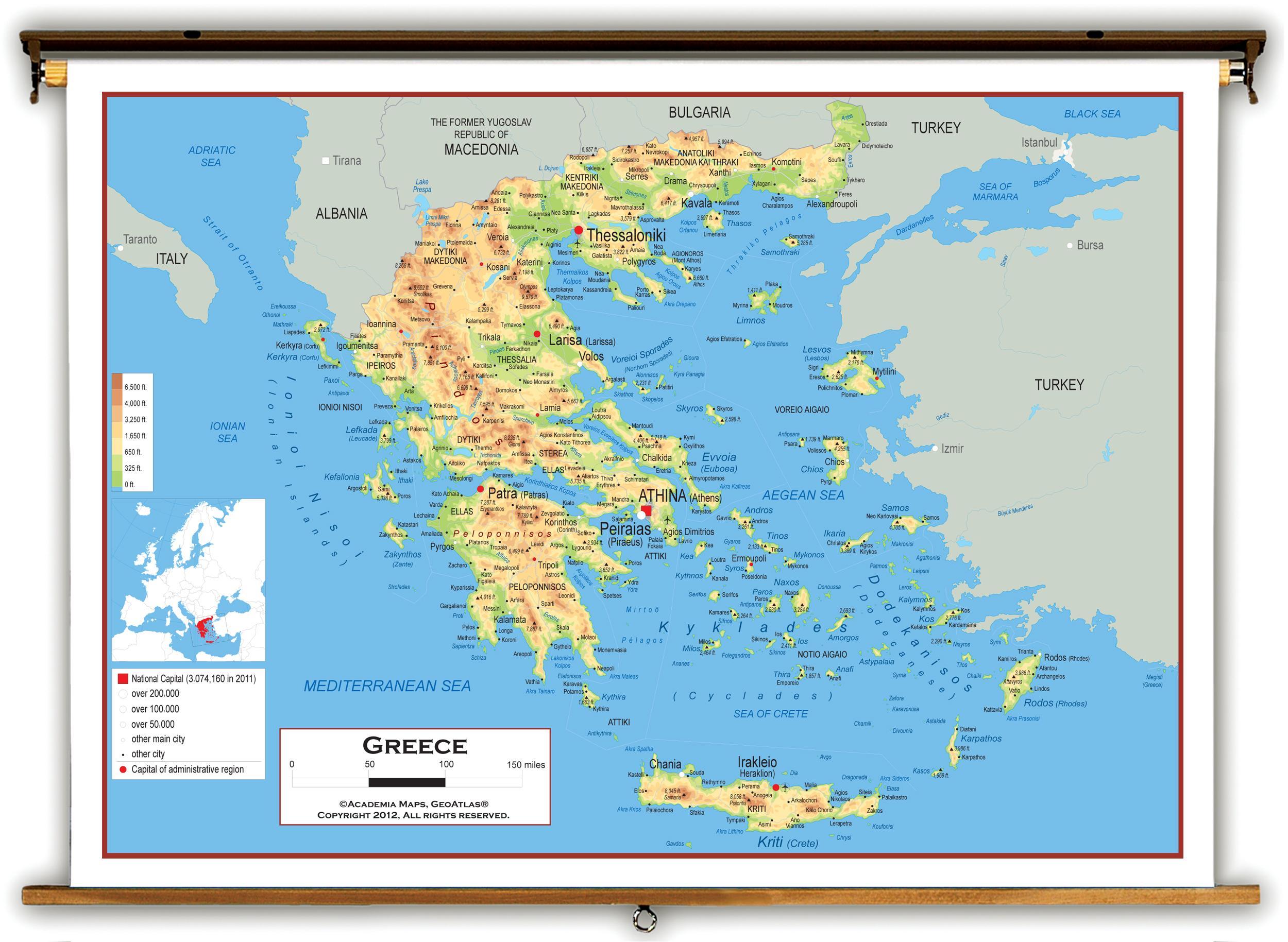 Grecia Harta Fizică Harta Fizică A Greciei Europa De Sud Europa