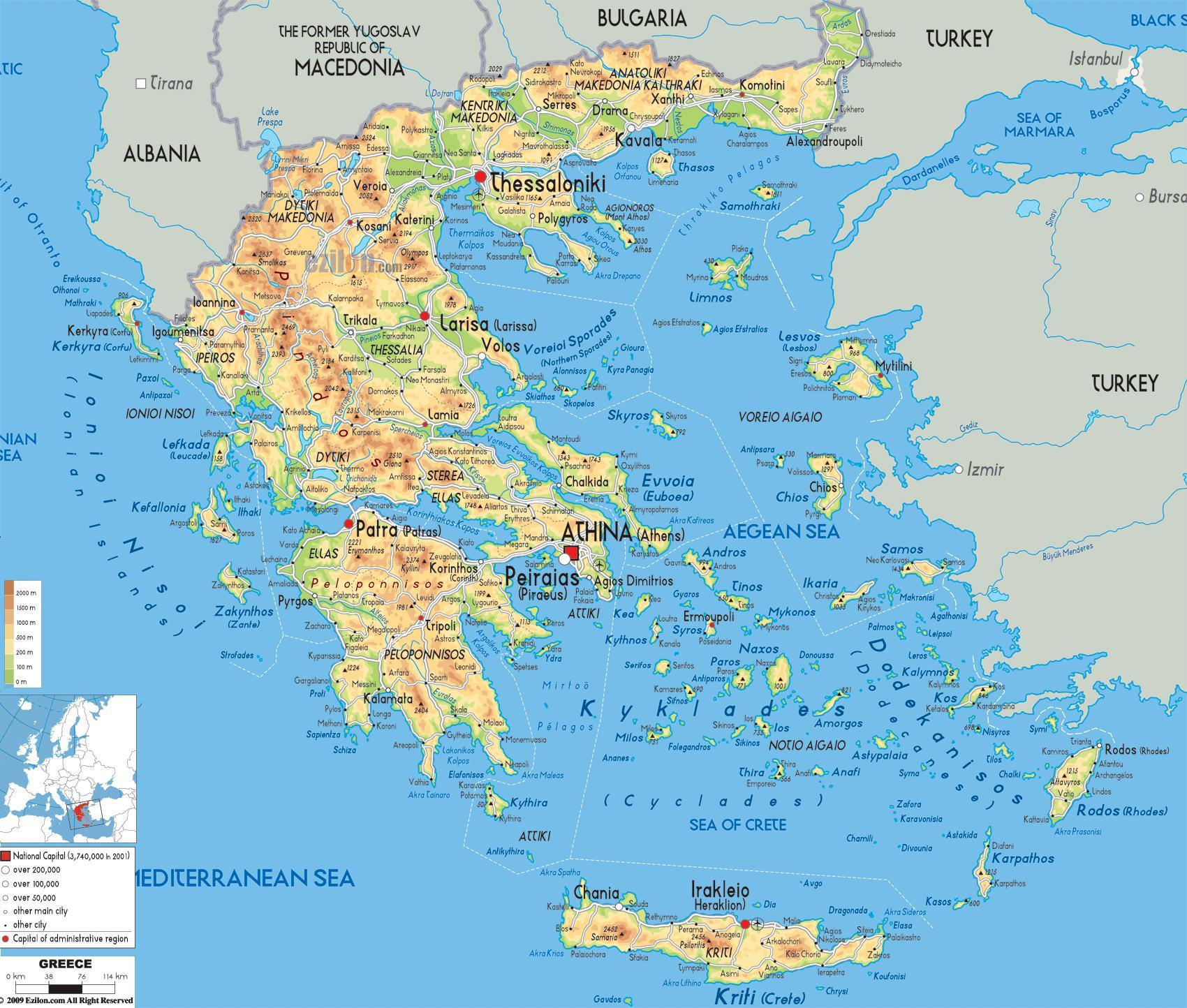 Grecia Geografie Harta Harta Geografică A Greciei Europa De Sud
