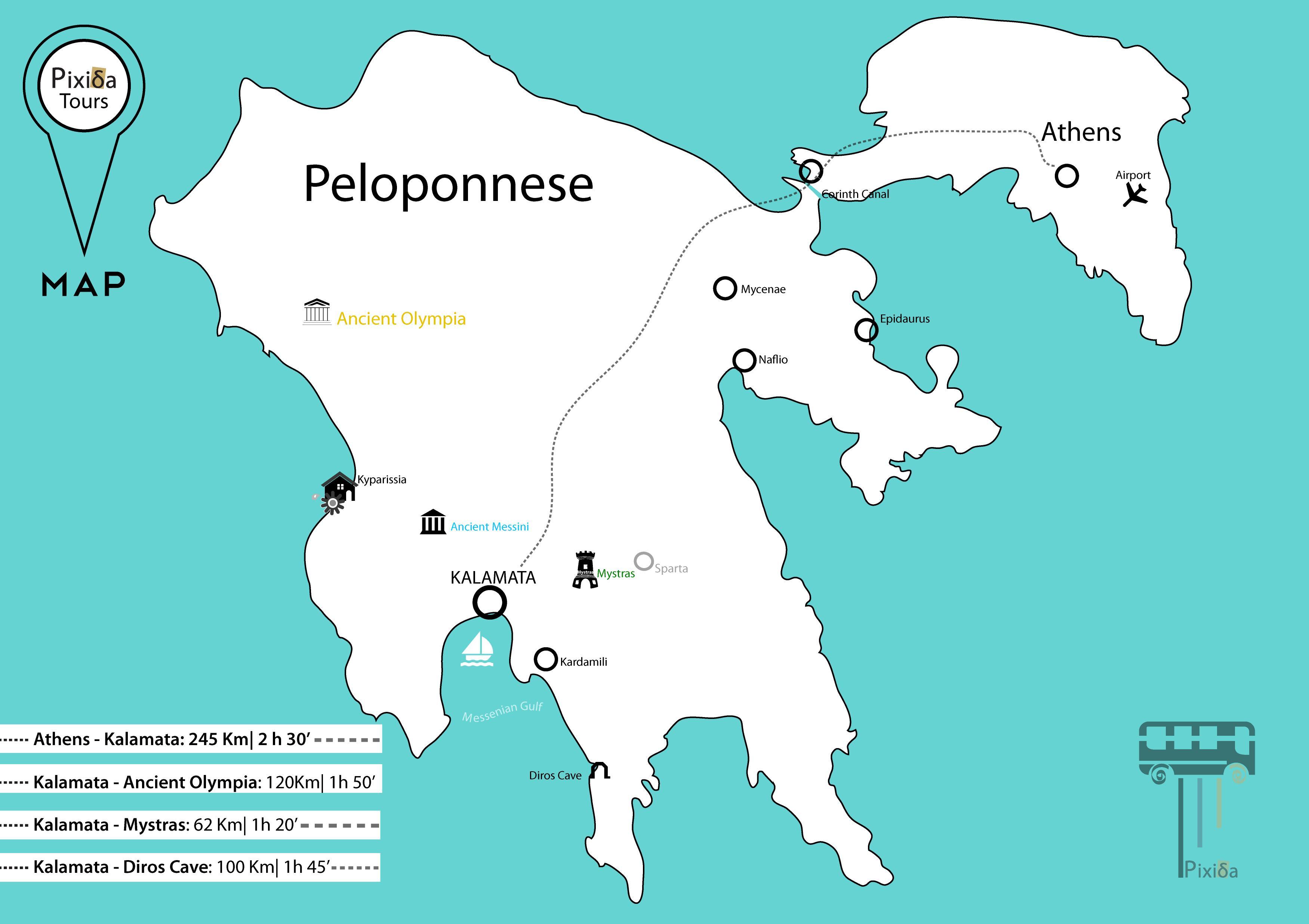 Peloponez Grecia Antică Hartă Harta Greciei Antice Pelopones