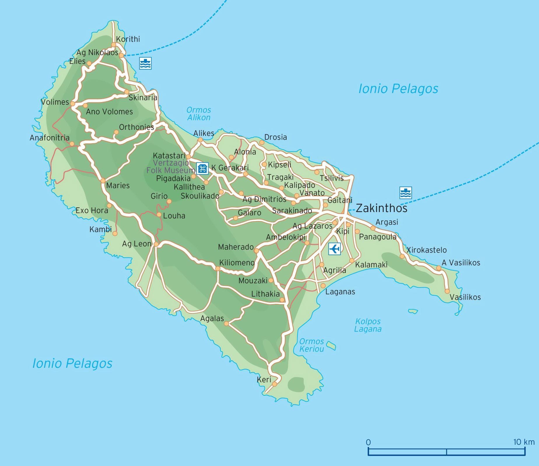 Zakynthos Grecia Hartă Harta Zakynthos Grecia Europa De Sud