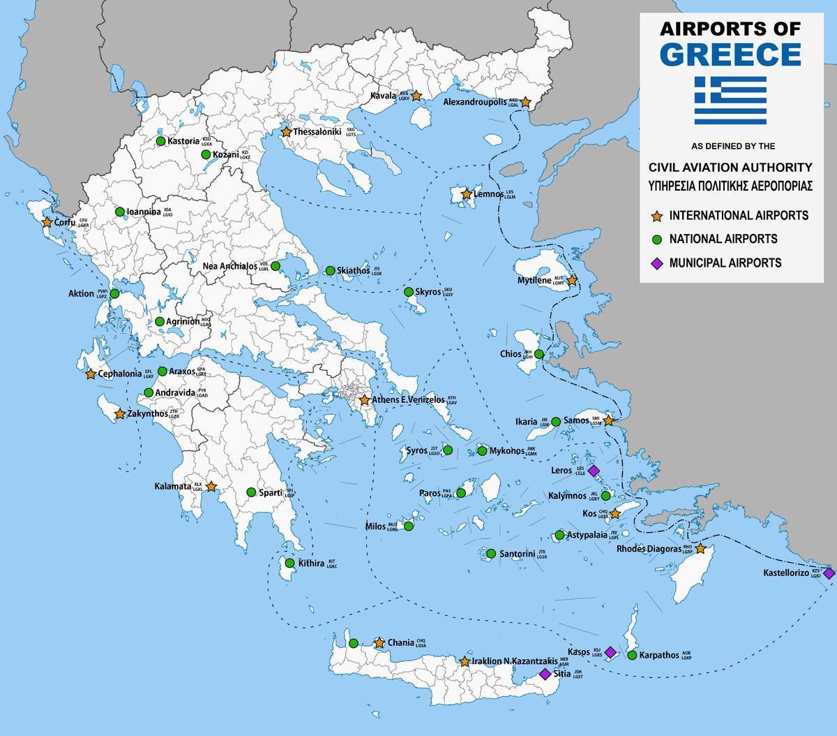 Aeroporturi Din Grecia Hartă Harta Aeroporturi Din Grecia