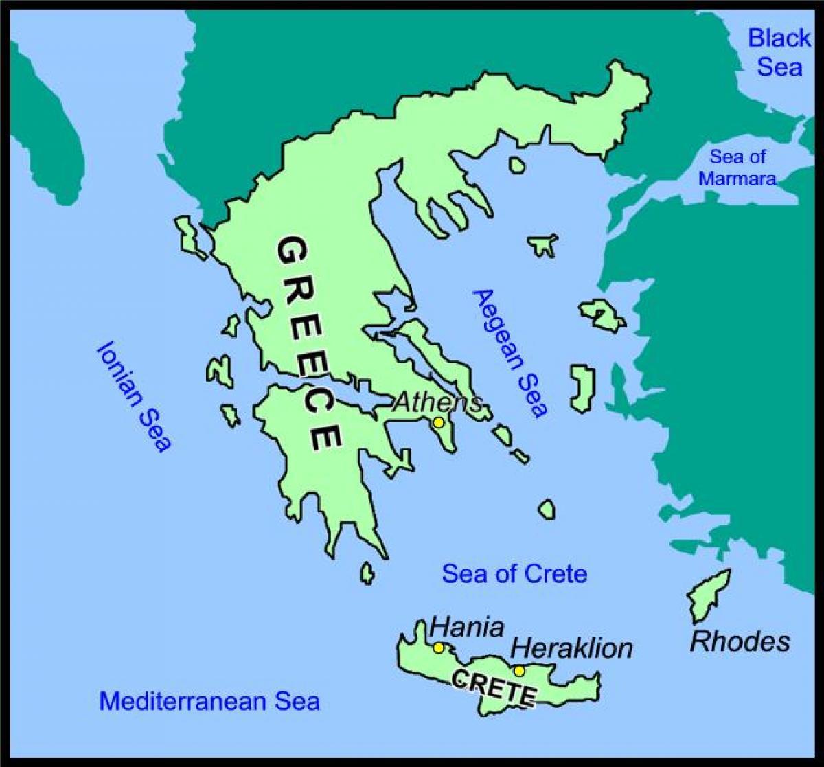 Creta Grecia Hartă Harta Creta și Grecia Europa De Sud Europa