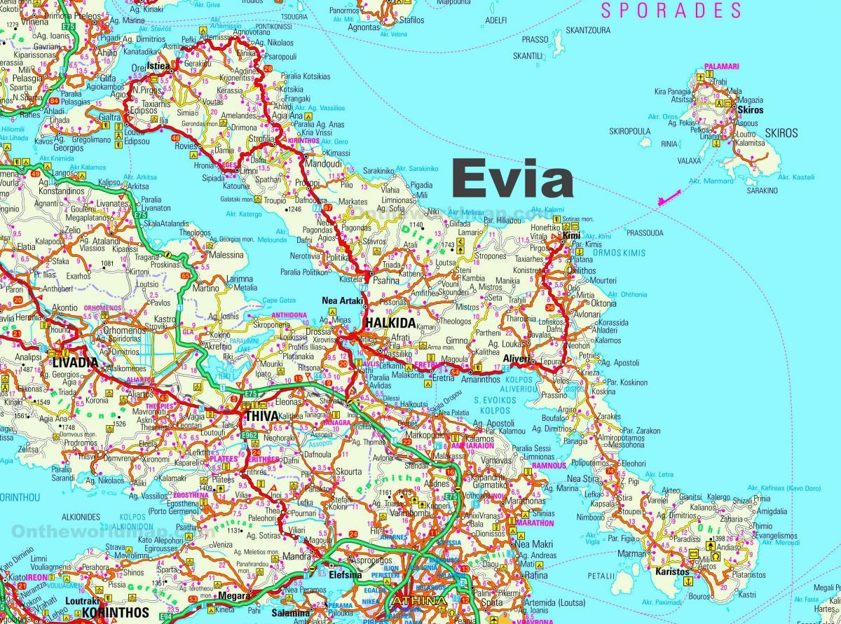 Evia Grecia Hartă Harta Evia Grecia Europa De Sud Europa