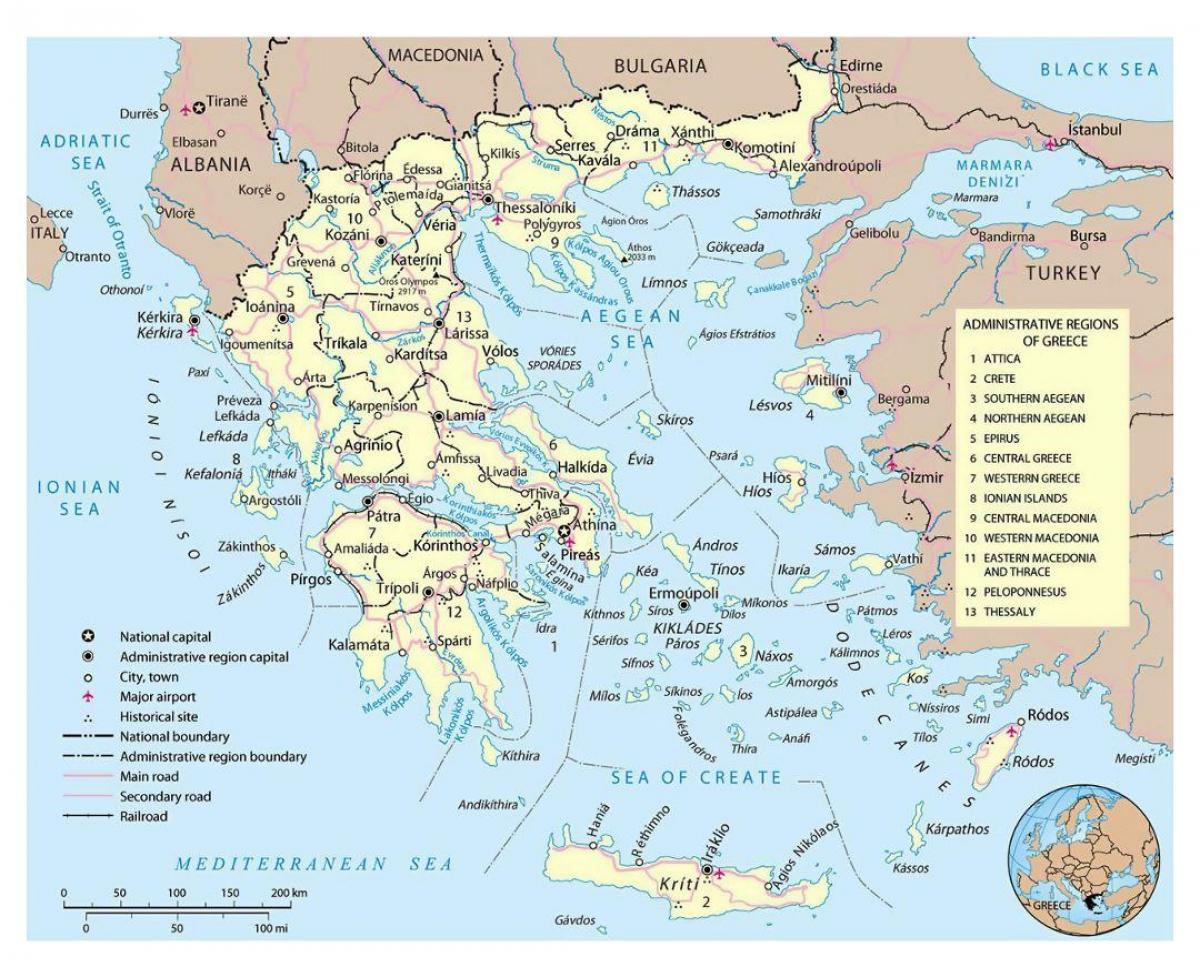 Grecia Aeroporturi Harta Hartă A Greciei Aeroporturi Europa De