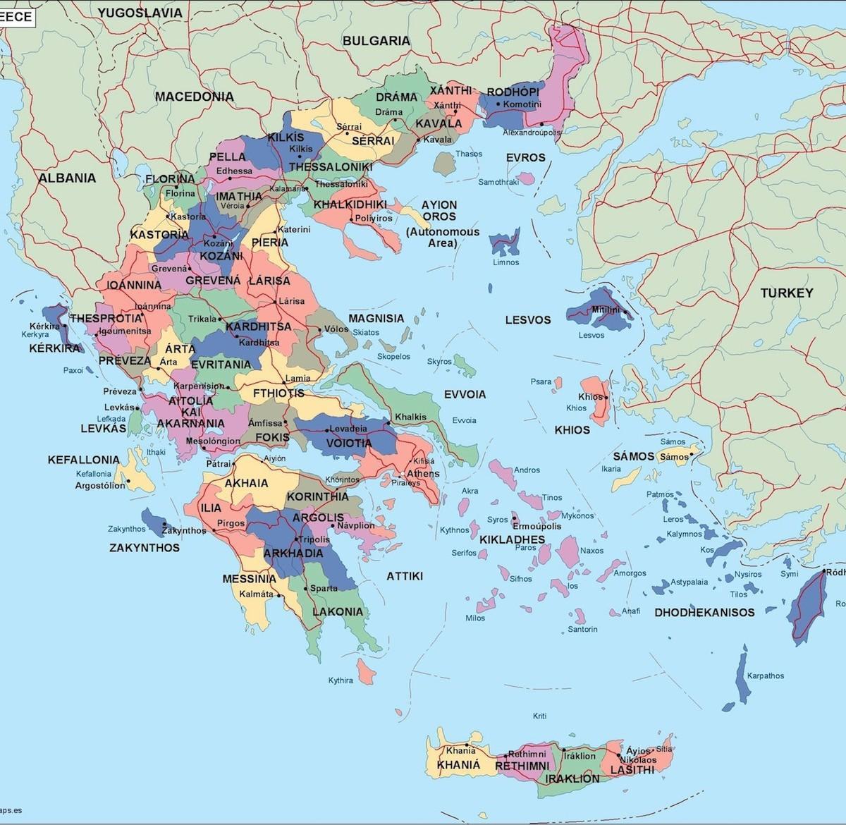 Grecia Harta Politică Harta Politică A Greciei Europa De Sud