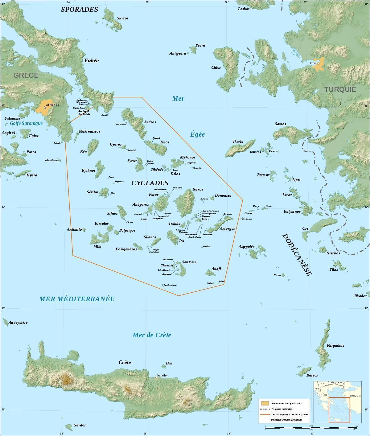 Insulele Ciclade Grecia Hartă Harta Insulele Ciclade Insulele