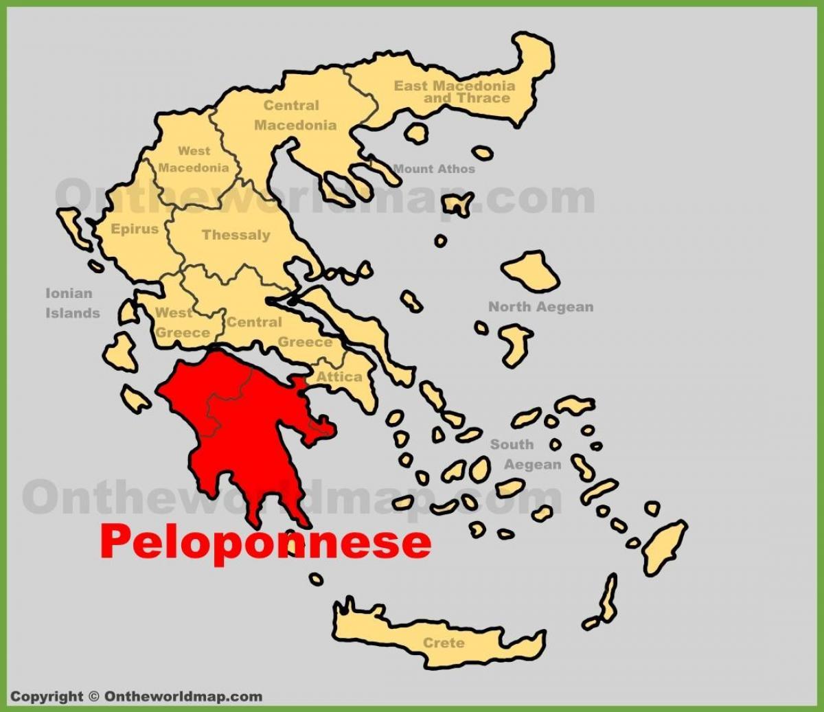 Peloponez Grecia Hartă Harta Peloponez Grecia Europa De Sud